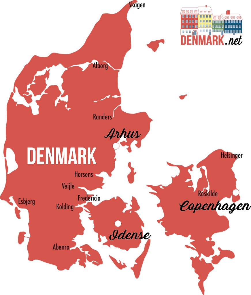 detailed map geography denmark