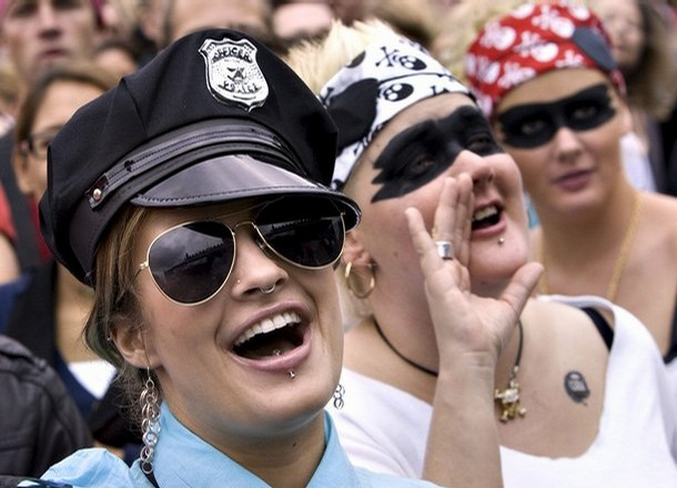 Copenhagen Pride Week participant dessed as police officer